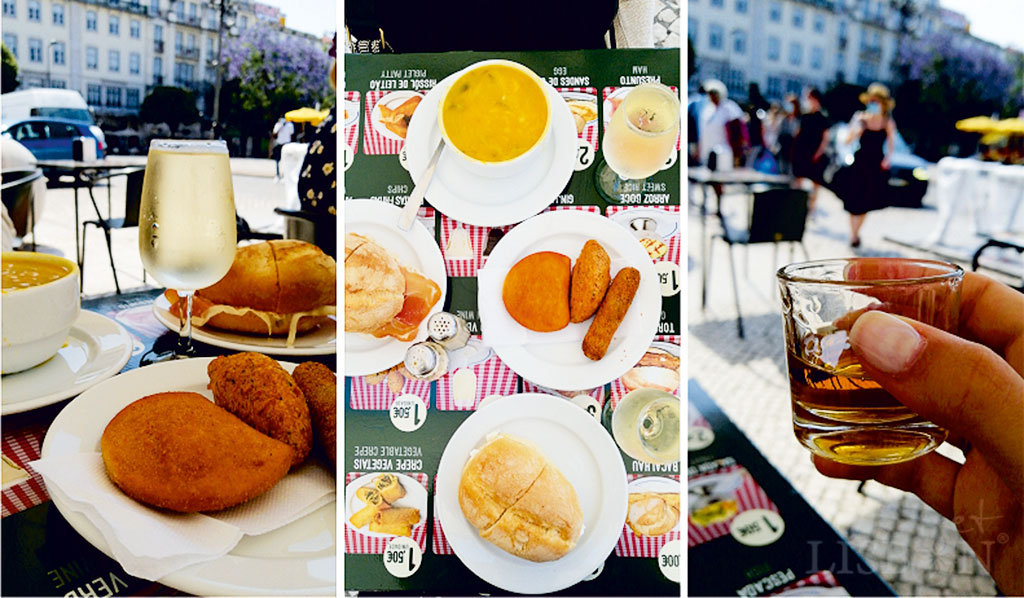Local fast food, consisting of soup, sandwiches, salgados (savoury deep fried snacks) and a few desserts.