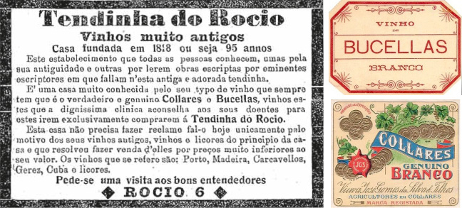 Advertisement published in the newspaper A Capital of April 8, 1914; Labels of the two white wines.