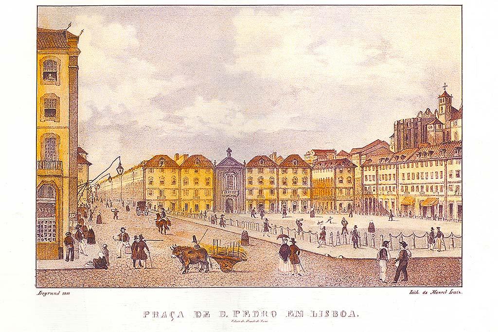 Vista da ala sul do Rossio c. 1840