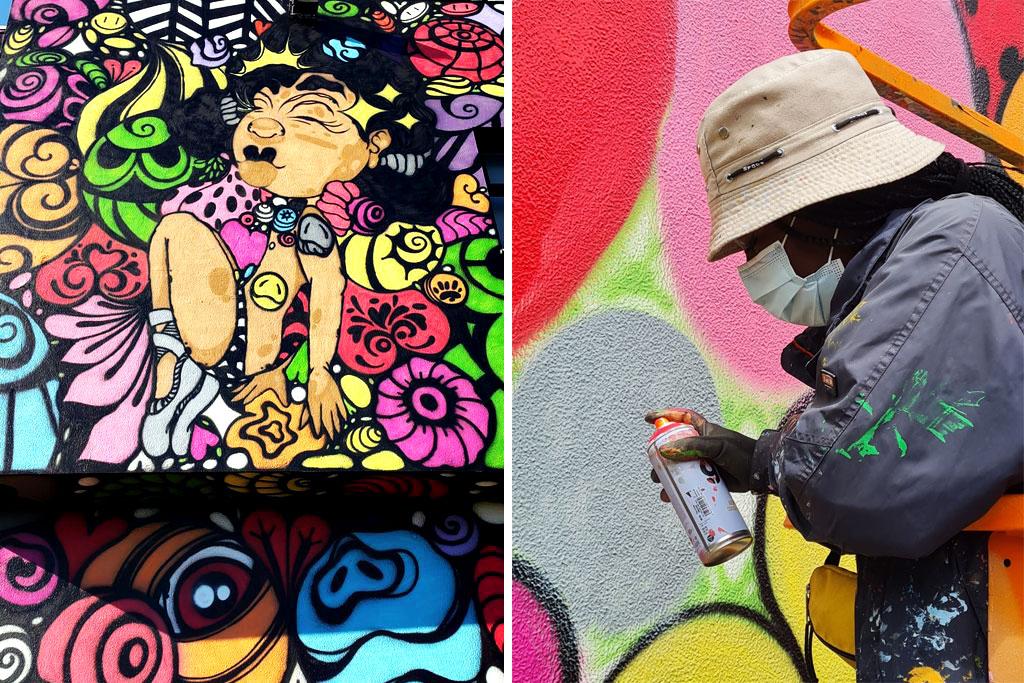 Mural Bailarina de Sonhos da artista urbana MOAMI, realizado no âmbito do Loures Arte Pública 2021. MOAMI durante a execução do mural.